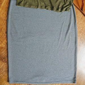 Black White Stripe Stretch Midi Skirt
